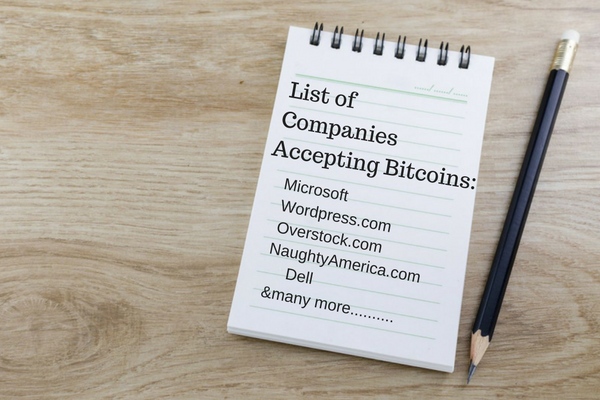 List of Companies Accepting Bitcoin