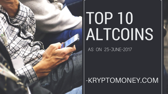 Top Ten Altcoins as on 25 June 2017