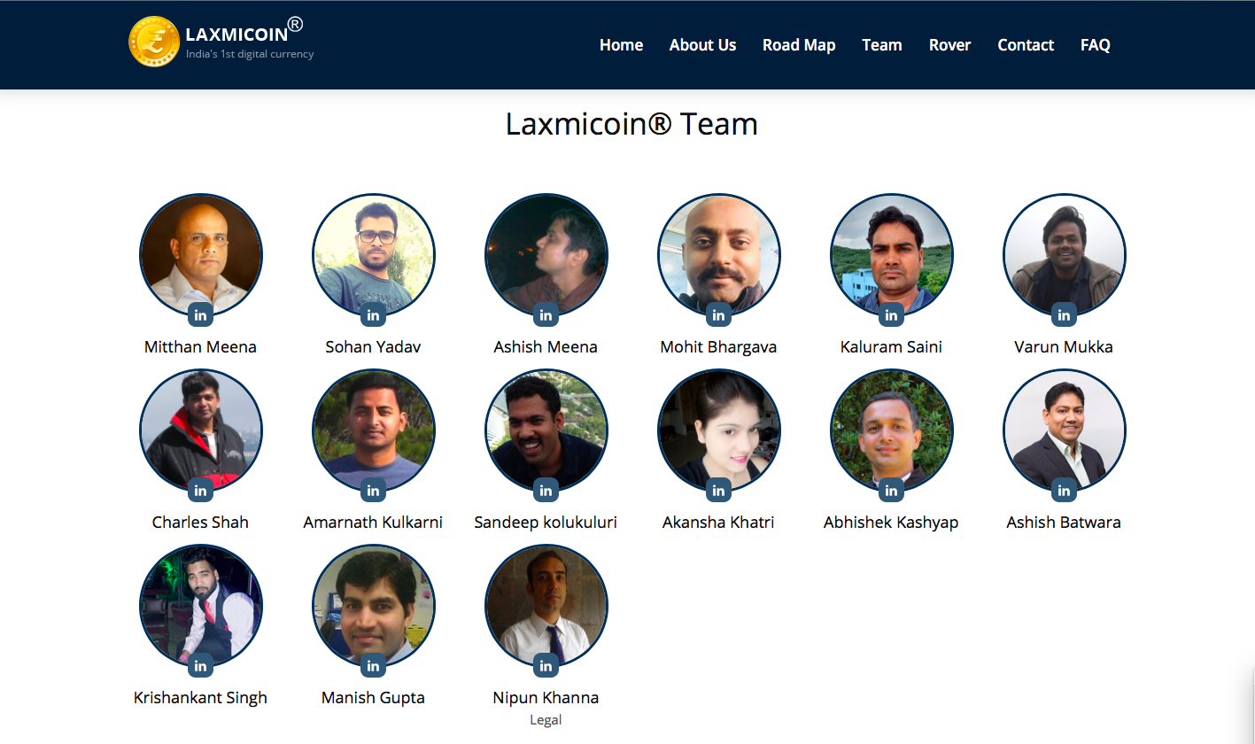 team behind laxmi coin | laxmi coin team