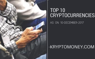 List Of Top Ten Cryptocurrencies As On 10 December 2017