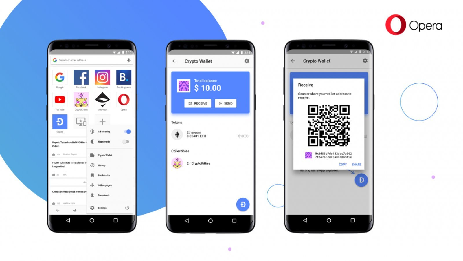 Opera | Ethereum Blockchain Wallet | Mobile Browser | ethereum